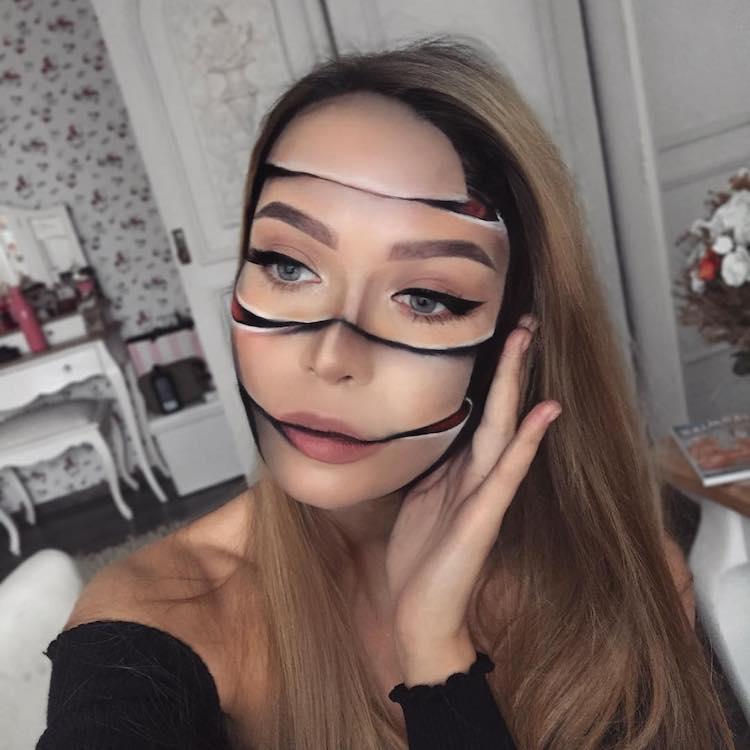 slice-face Lithuanian Makeup Artist Creates Wonderfully Disturbing Illusions Using Herself as a Canvas Random