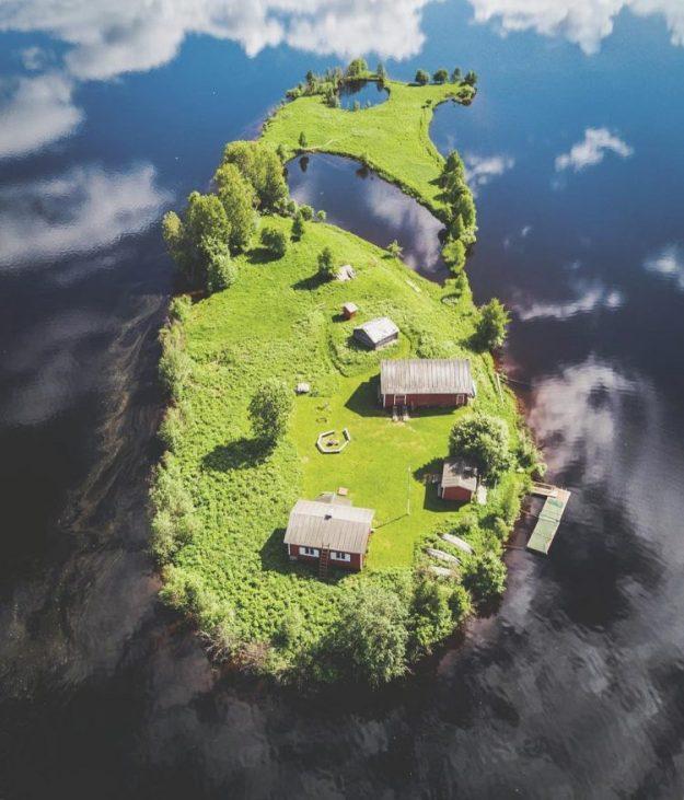 kotisaar-island-lapland-summer-e1524682237480 Photographer Captures Stunning Overhead Shots of an Island in Finland During All Four Seasons Random