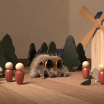 Lucas the Giant Spider Inadvertently Decimates a Tiny Wooden Village When Introducing Himself