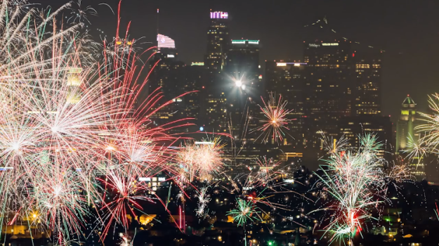 Fireworks-Over-Los-Angeles Amazing Panoramic Helicopter Footage of Legal and Illegal Fourth of July Fireworks Over Los Angeles Random