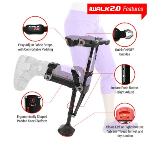 iWalk-2.0 iWalk 2.0, A Cleverly Designed Hands-Free Crutch For Lower Leg Injury Support With Walking Stability Random