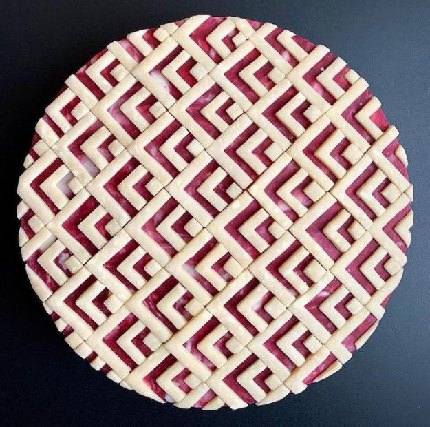 Bathroom-Tile-Design-Pie Gorgeous Handmade Pies With Intricate Geometric Designs That Have a Punny Caption to Go With Them Random