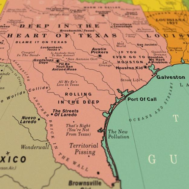 USA-song-Texas A Vintage Style Art Print That Imagines the Map of the Entire United States Made Up Over 1,000 Song Titles Random
