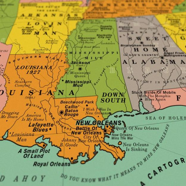 USA-song-map-Louisiana A Vintage Style Art Print That Imagines the Map of the Entire United States Made Up Over 1,000 Song Titles Random