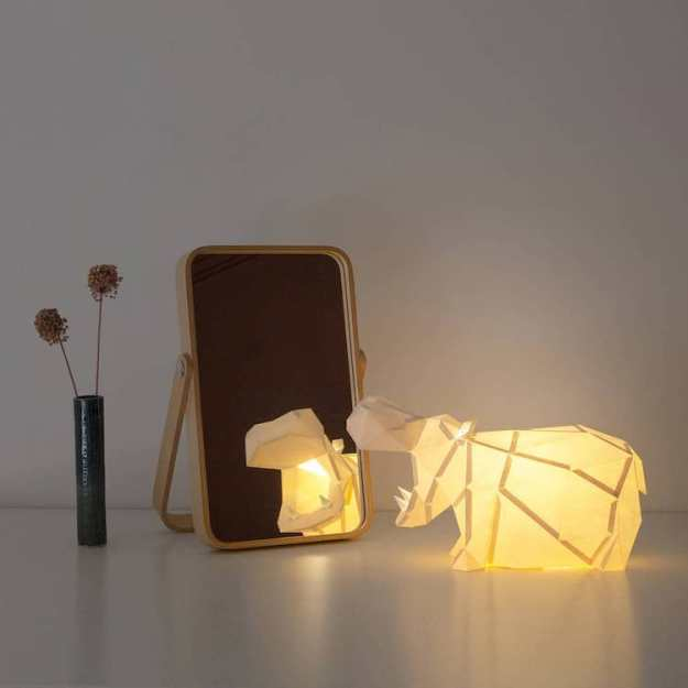 Hippo-Papercraft-Lamp Lamp Kits That Fold Into Geometric Papercraft Animals Random