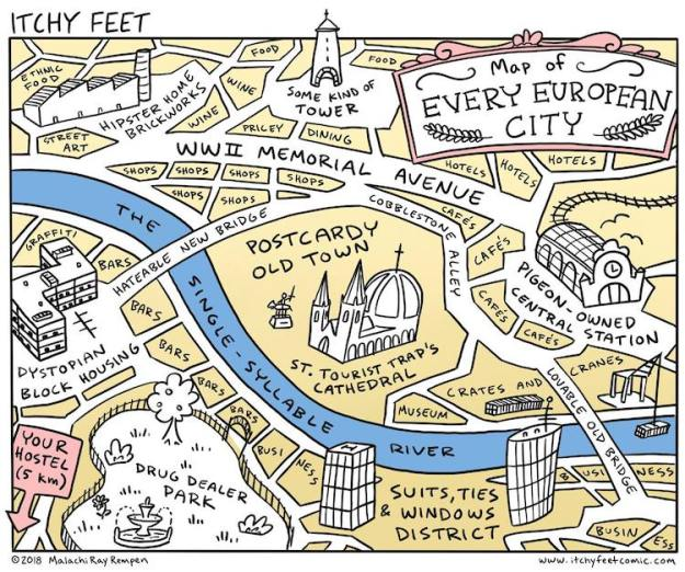 Omnimappus-Europus Hilarious Illustrations That Generalize the Typical Layout of Cities Across Europe and the United States Random