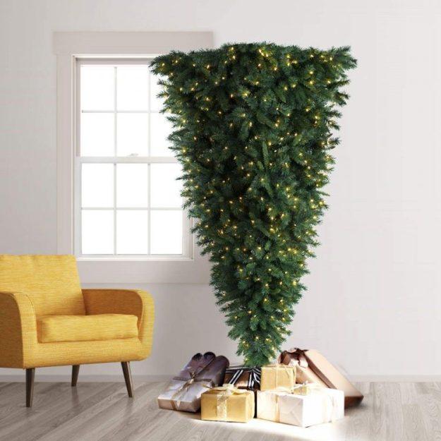 Upside-Down-Trimmed-Tree-With-Gifts-e1544123358370 A Space Saving Upside Down Christmas Tree Random
