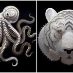 Exquisitely Detailed Cut Paper Animal Sculptures