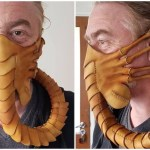 An Incredibly Detailed Hand-Stitched Leather 'Alien' Facehugger Protective Face Mask
