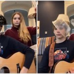 Sister Hits Her Brother Over the Head With a Plastic Bottle While He's Playing 'Back in Black' on Guitar