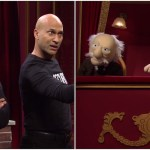 Two Security Guards Confront Hecklers Statler and Waldorf in a Saturday Night Live 'Muppet Show' Sketch