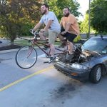 Mechanics Hilariously Modify a Small Car to Be Completely Powered by a Tandem Bicycle