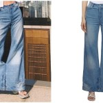 A Uniquely Designed Pair of Denim Jeans With Waistbands at Both the Waistline and the Feet