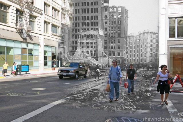 1906 San Francisco Earthquake composite photos by Shawn Clover