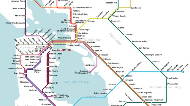 A Map of San Francisco\'s Bay Area Rapid Transit System Designed in ...