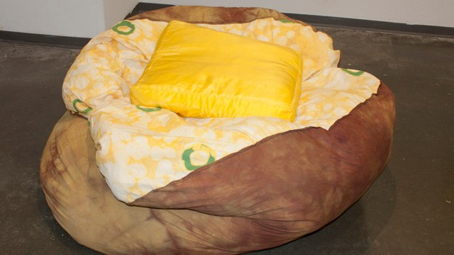 Stacked Pancake Floor Pillows With Butter Pat Accents