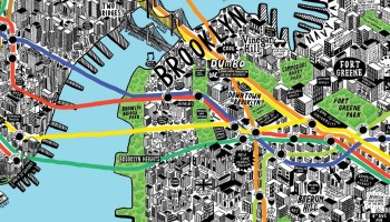 Map Of New York Landmarks.Map Of Manhattan Made Of Scribbled Directions By New Yorkers