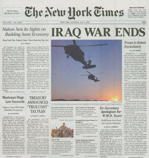 La fausse une du New York Times du 4 juillet 2009