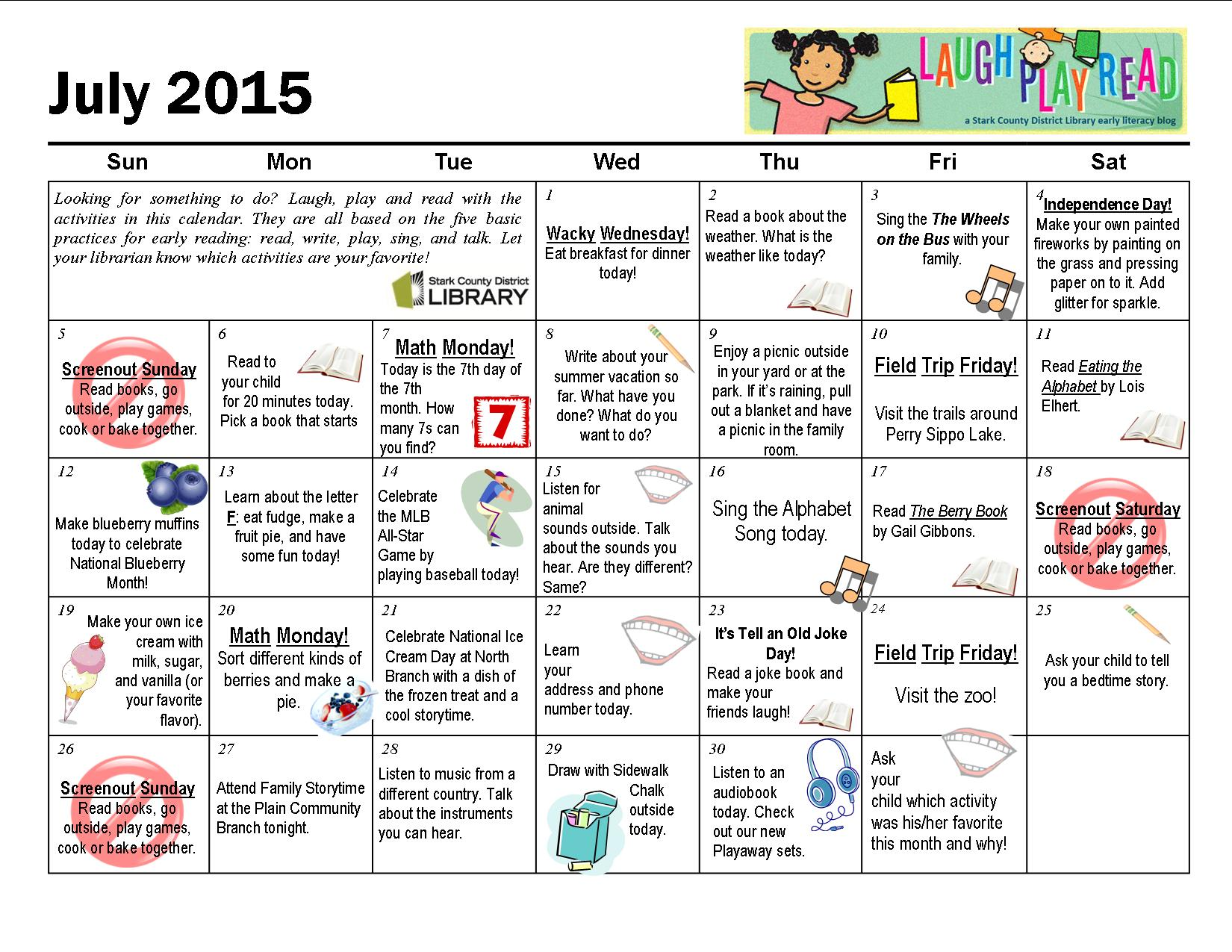 July Monthly Activity Calendar