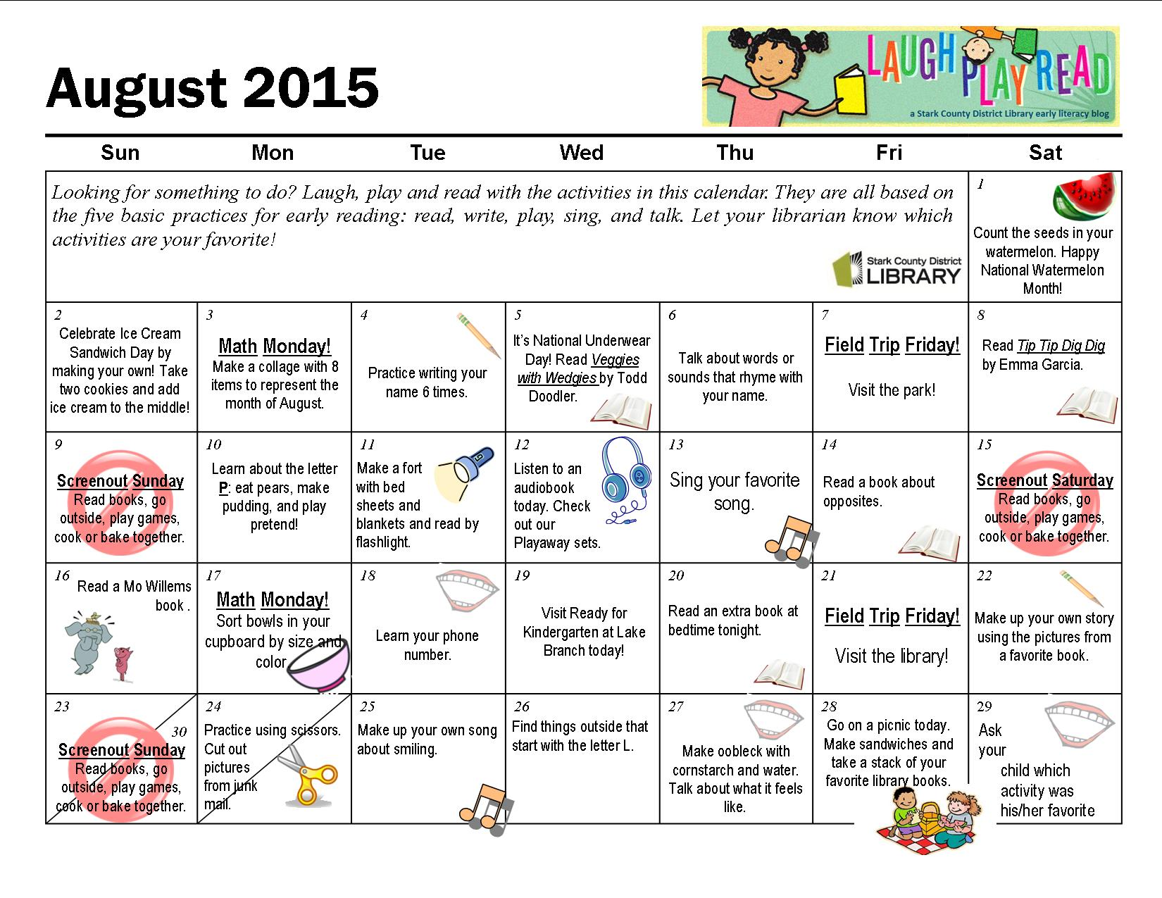 August Monthly Activity Calendar