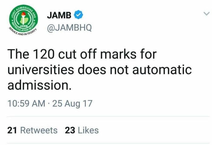 English has jammed JAMB