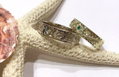 L-12116 14K White&Green Gold Pair Ring