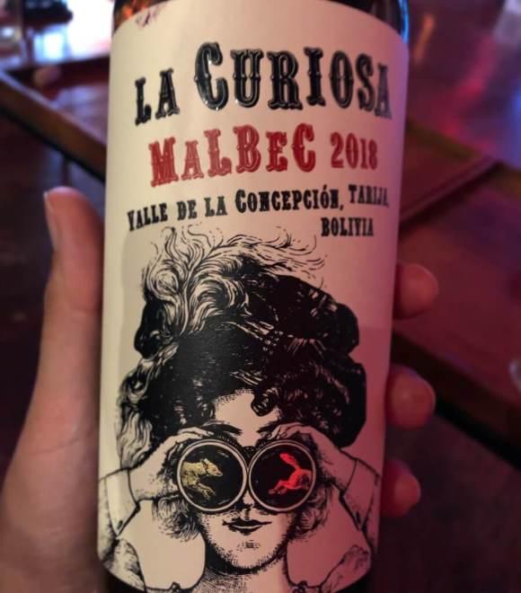 La Curiosa, vino boliviano Malbec de Cruce del Zorro