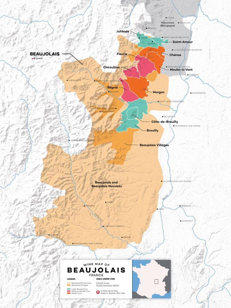 Mapa de vinos de Beaujolais