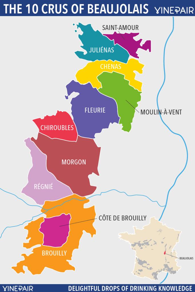 Mapa de los cru de Beaujolais