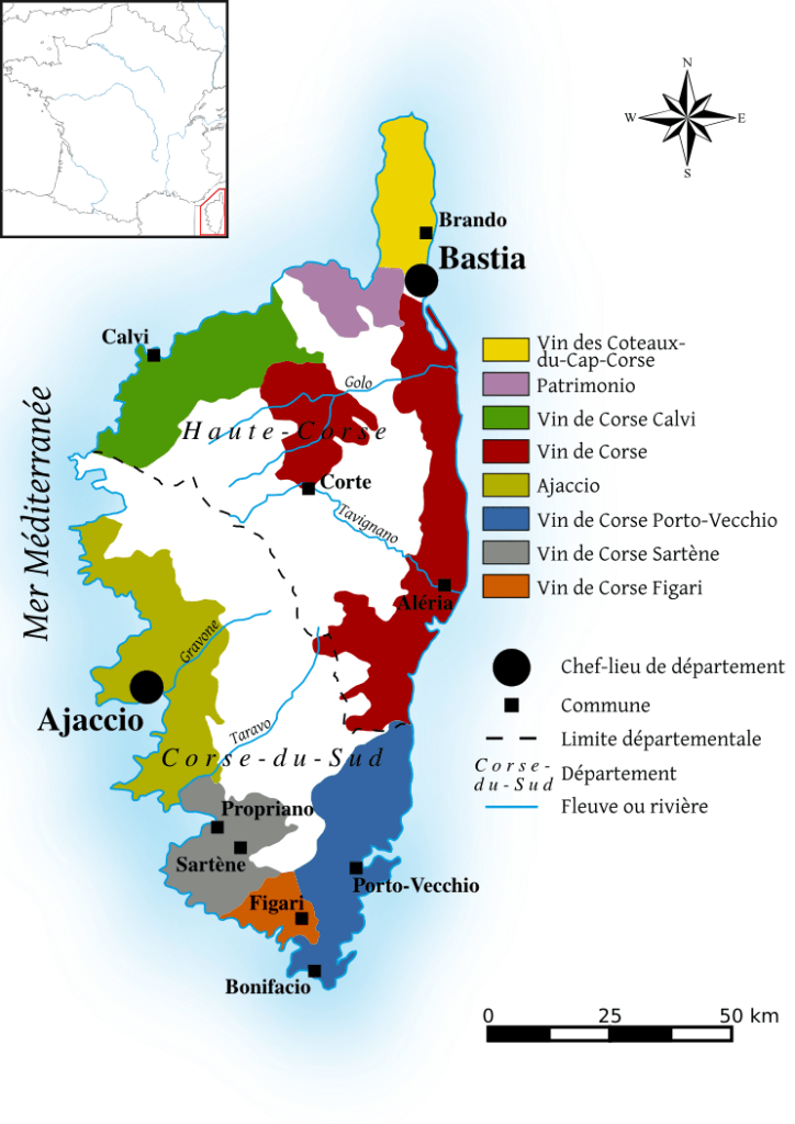 Mapa de vinos de Córcega