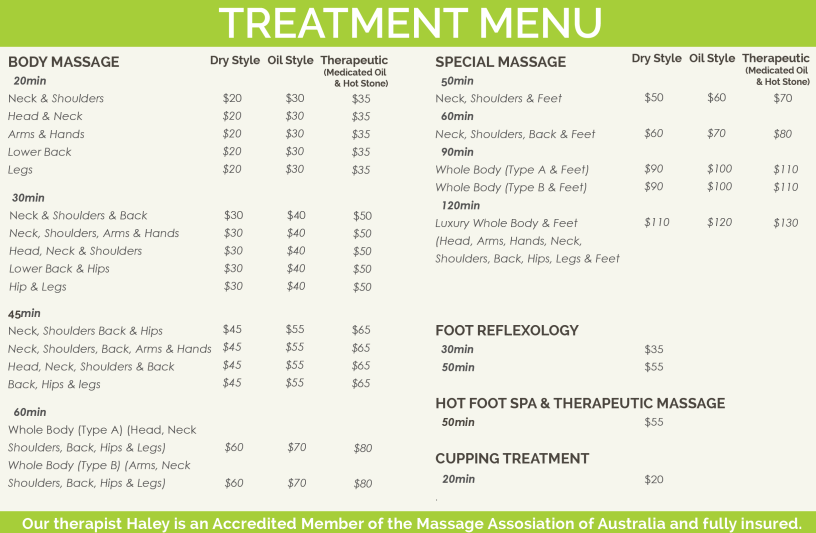 Launceston Massage Centre - Treatment Menu