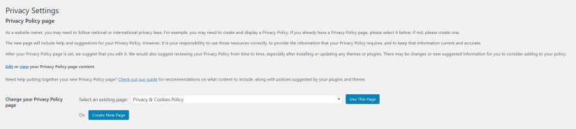 privacy page