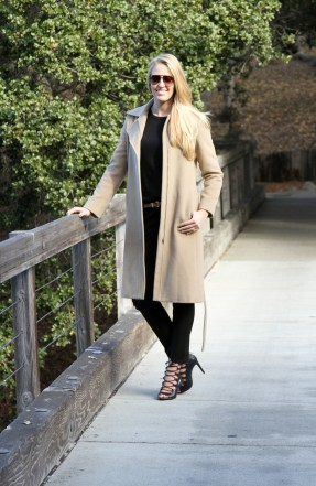 Camel Coat Black Pants