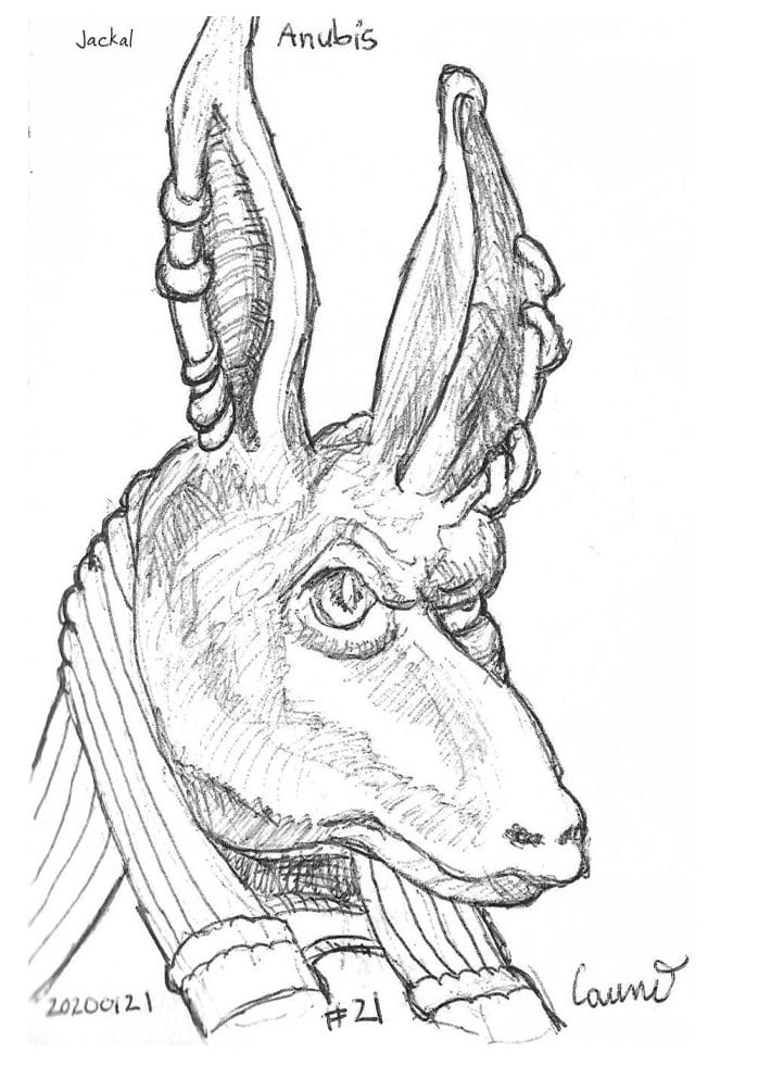 2020 Sketch of the day Number 21: Jackal, Anubis