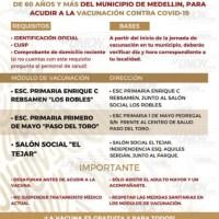 En Medellín, Jornada de Vacunación Covid-19 para Adultos Mayores.