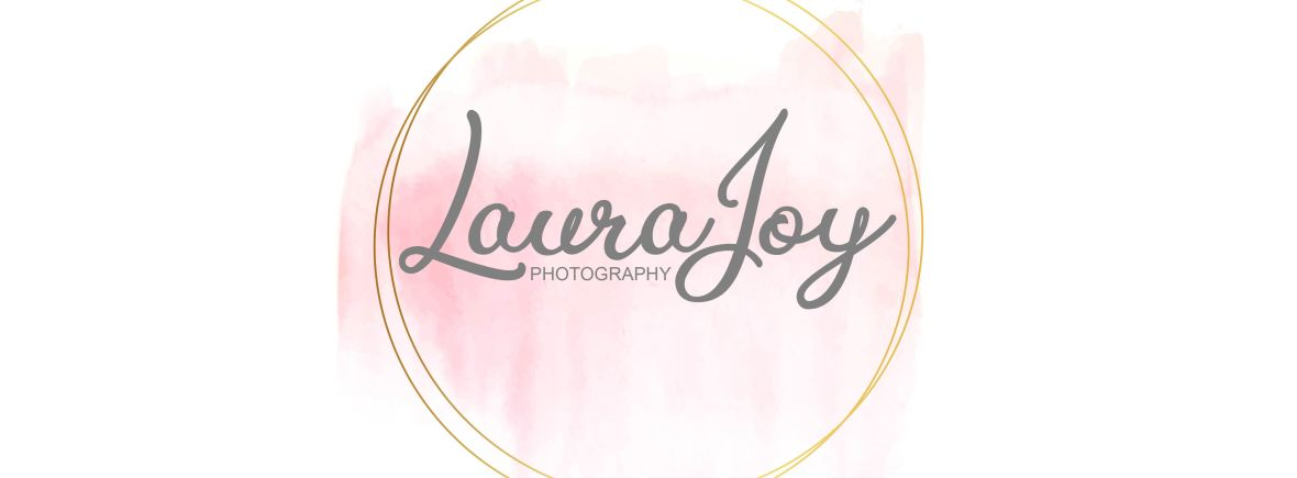 Laura Joy Photography logo - Newborn Photographer Glasgow. Gold circle, pink watercolour image and Laura Joy Photography written in grey text.