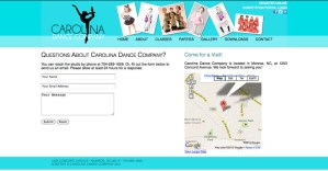 Carolina Dance Company contact page concept