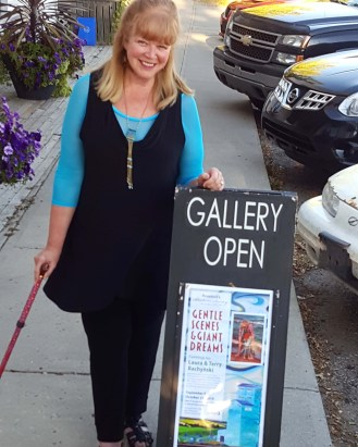 Laura near the Gallery Advertising Signage