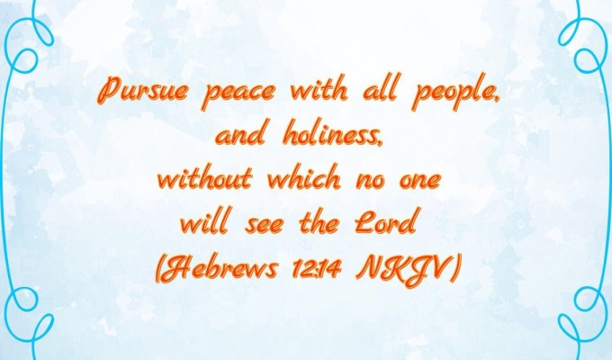 Pursue Holiness And Peace