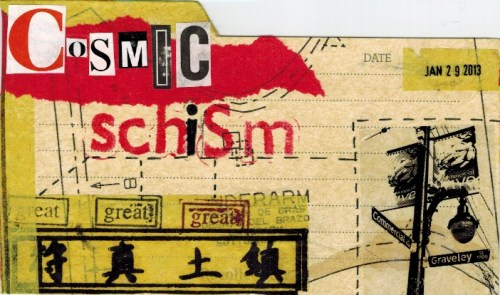Mail art postcard sent to IUOMA member Celestial Scribe!
