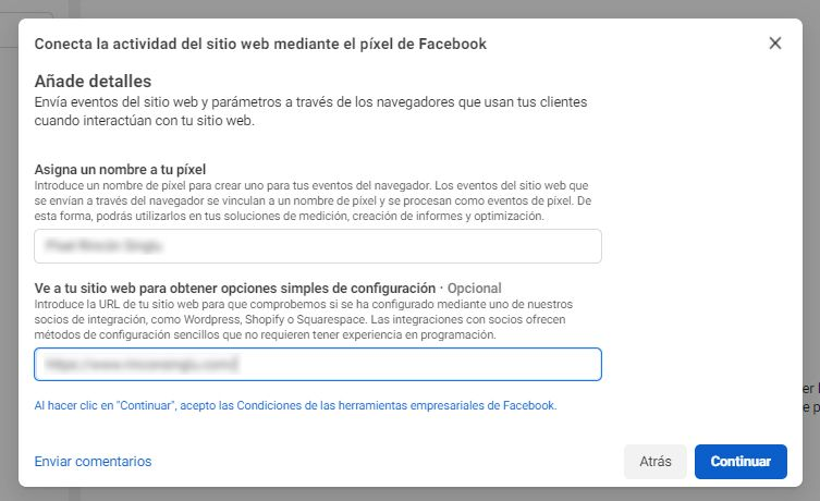 configurar píxel de Facebook