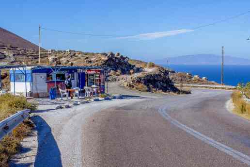 Snack Shop along the hike from Fira to Oia, Santorini - www.lauraenroute.com