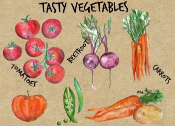 Watercolour veg then rustic looking backdrop
