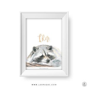 lamina mapache dibujado