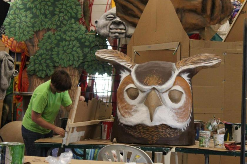 Working on big horned owls at Paperhand's