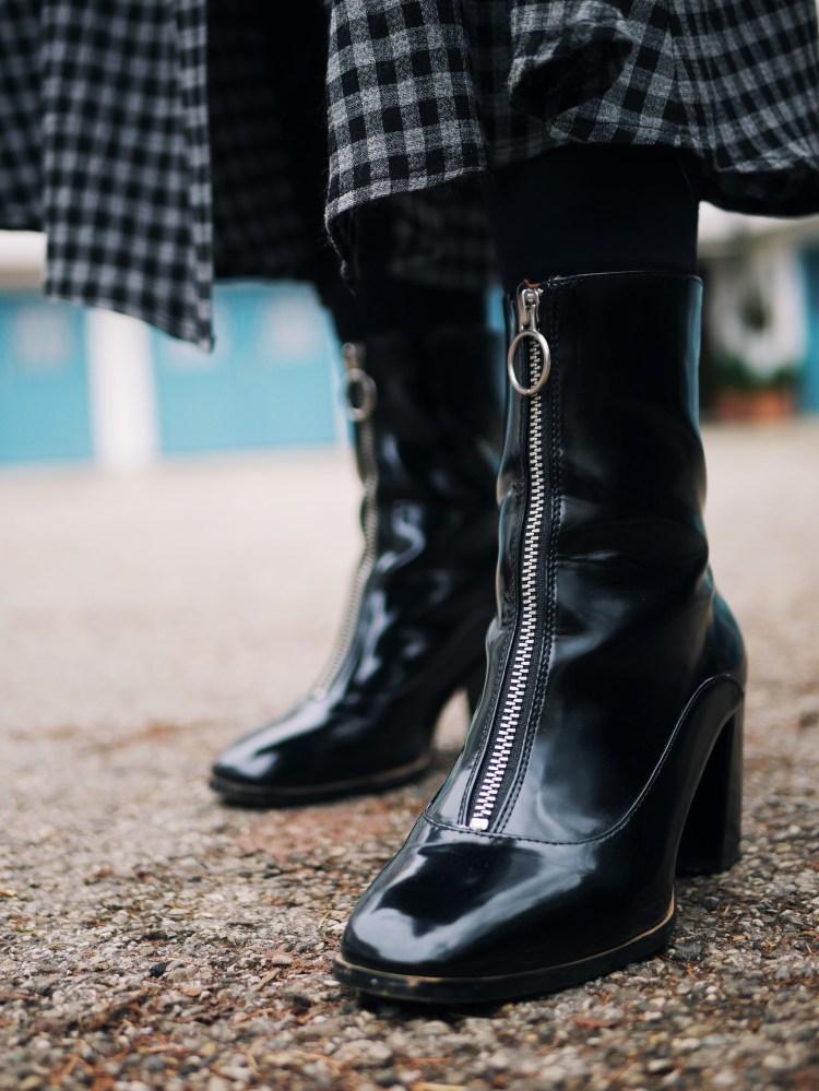 Vinyl Ankle Boots mit Reißverschluss