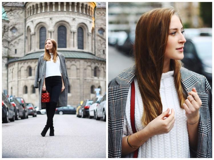Cropped Pullover, Overknee Stiefel und Tasche mit Marienkäfern