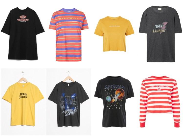 T-Shirts mit Schriftzug Bunt
