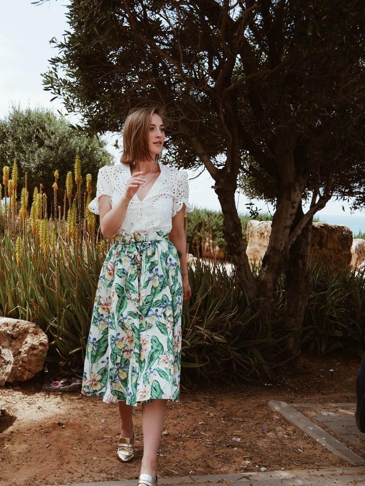 Esprit Skirt, White Zara Blouse and Gold Slipper