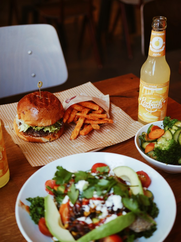 B.GOOD Cousin Oliver Burger and Sweet Potato Fries